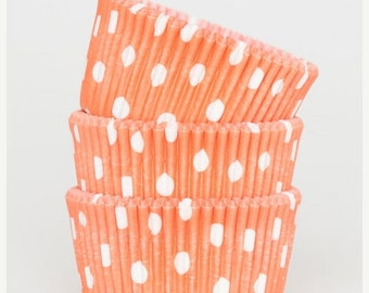 TAX SEASON Stock up 50 Pc Pretty Orange Polka Dot Cupcake Liners 2X1.25 Inch Size Perfect for Parties