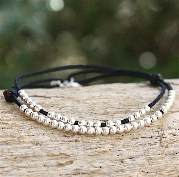 Bracelet cord 2 turns 925 Silver beads