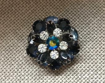 Vintage Blue, round brooch, diamond brooch, blue brooch, sparkly brooch, silver tone brooch
