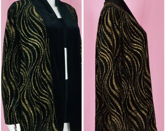 90s Black Velvet Blouse / Vintage 1990s Velvet Jacket with Sparkling Gold Print / Large