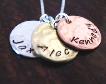 Hand Stamped Mommy Necklace - Three Loves - Mixed Metal mothers necklace