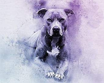 Easter gift, STAFFY art, dog watercolour, pet portrait Custom, dog painting, dog portrait, pet portraits, dog drawing, pet portraits,