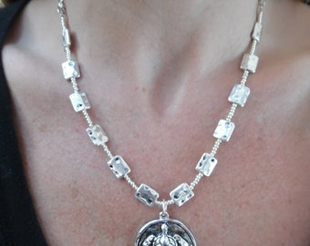 Silver Beaded Necklace with Turtle Pendant