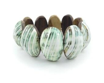 Vintage Shell, Link Bracelet, Wood Backs, Stretch Elastic