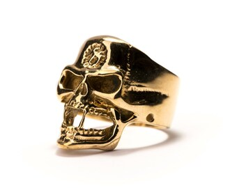 Skull Ring Brass Gothic Tribal Unisex Jewellery  Skull Jewelry Gift Boxed + Gift Bag , Free UK Delivery SK1