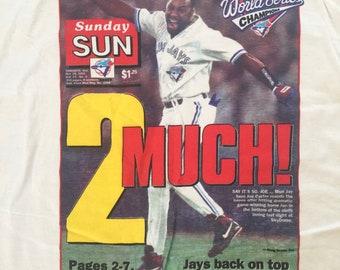 RARE Vintage Toronto Blue Jays 1993 World Series Champions shirt t-shirt Toronto Sunday Sun Newspaper