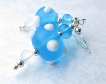 SALE - Bubbles lampwork earrings