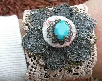 Vintage inspired lace cuff bracelet