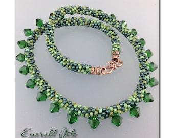 "DMB ""Emerald Isle"" kumihimo rope necklace with Swarovski drops"