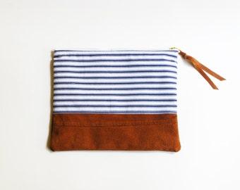 Suede repurposed et pochette Vintage Stripe coton tissu 10 pouces