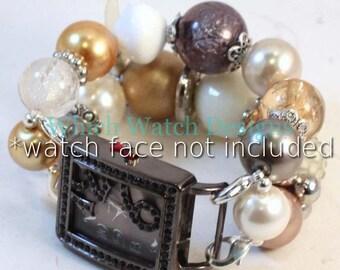 Phantasie frei... Atemberaubende Grobstrick, Perlen Neutral getönten Creme, Beige, grau, Gold und Silber austauschbar Armband