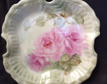 I hand-painted porcelain 7 inch antique style pink roses dish