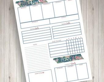 Weekly Planner (Blue Floral)