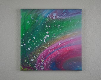 10x10 inch pour painting on canvas, orbital, galaxy, rings, cells