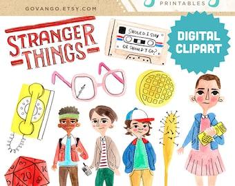 STRANGER THINGS Digital Clipart Instant Download Illustration Clip Art Watercolor Netflix Fanart Eleven Barb 80s TV horror fantasy scifi