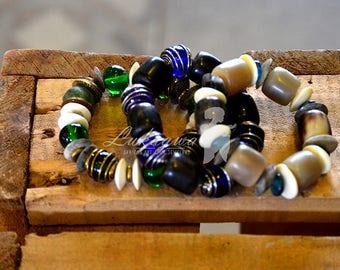 Green Chunky Afrocentric bracelet,Blue African chunky bracelet,