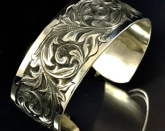 Hand Engraved Sterling Silver Cuff Bracelet
