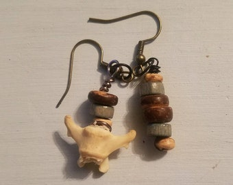 Bone and bead earrings
