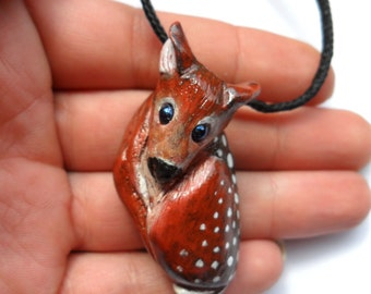 Baby Deer Necklace - Animal Pendant Necklace - Ploymer Clay Jewelry - Polymer Clay Necklace
