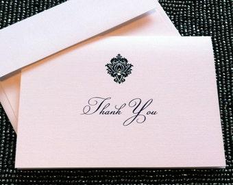 Diamond Damask Thank You Note - Sample