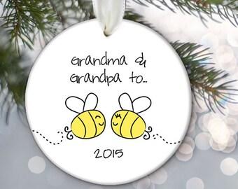 Grandma and Grandpa to bee, Birth Announcement Ornament, Pregnancy Ornament, Grandparents Ornament, Personalized baby Ornament, OR822