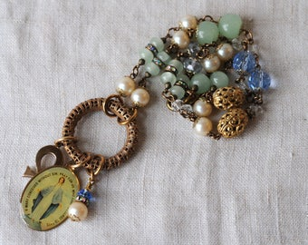 Upcycled Brass Filigree Necklace, Catholic Charm, Ankh Charm, Vintage Brass, Repurposed, Assemblage