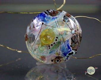 Glass Lampwork Focal Bead-SRA- artist-handmade-Manuela Wutschke-Artisan-Sparkling Winter Lights -fish- Shine