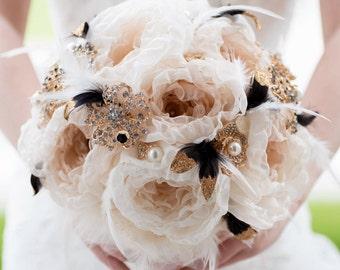 Custom Black Gold Brooch Bouquet, Fabric Flower Bouquet, Fabric Bouquet, Bridal Bouquet, Wedding Bouquet, Great Gatsby - 11 inch Bouquet