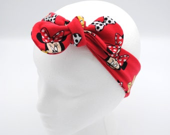 Minnie Mouse Top knot baby headband, hair tie, head-wrap, one size fits all, baby bow, baby shower gift, adjustable size, Mommy & Me Set