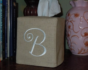 "Monogrammed Essex Natural Linen Tissue Box Cover -  Frivolous Curly ""B""  Made To Order"
