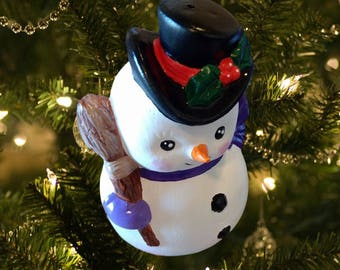 Handpainted Snowman Ceramic Christmas Ornament