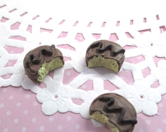 3 Pieces Bitten Chocolate Cookie Kawaii Decoden Cabochons Pastry, #166a