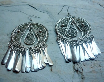 Long Chandelier Earrings, Statement earrings, Filigree earrings, Long Silver Earrings, Tribal Earrings, Ethnic Earrings, Bollywood Earring