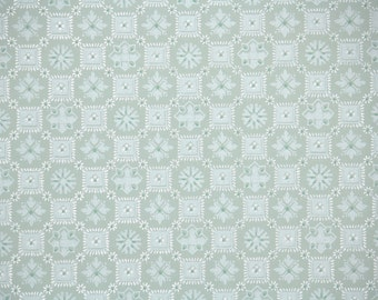 1950s Vintage Wallpaper by the Yard - Pale Green Blue and Metallic Silver Geometric Pattern
