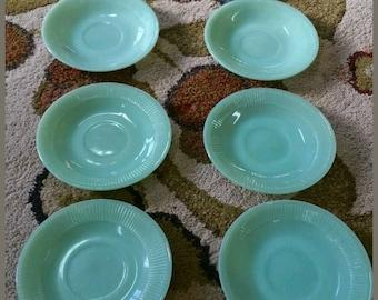 Vintage Jadite fireking saucers-Set of 8