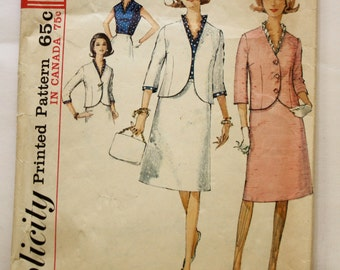 Vinatage Skirt Suit Pattern- Vintage 1960s Womens Skirt, Suit, and Ruffled Neck Blouse Sewing Pattern Size 13 Bust 33 Simplicity 5879
