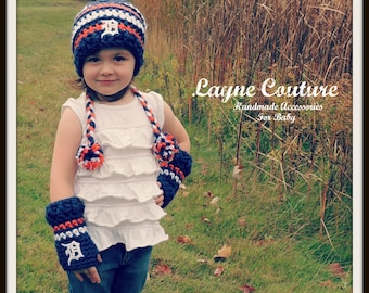 Handmade Detroit Tigers Crochet Slouchy Toddler, Child or Adult Hat/ HAT ONLY / Custom Made / Toddler, Child, Adult Item 171