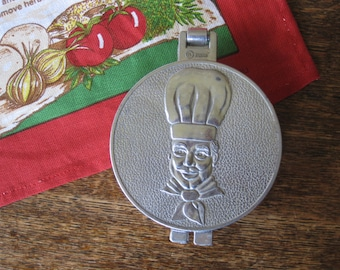 Vintage 1950s Hamburger Patty Mold Aluminum with Chef's Face
