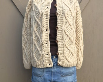 vintage Handmade Ivory Chunky Cable Knit Wool Cardigan Sweater / Fisherman Sweater