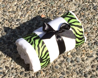 Burp Cloth / Changing Pad: Green and Black Zebra Stripes, Personalization Available