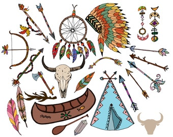 Clipart tribal : « TRIBAL CLIP ART » coiffe clipart clipart plume Dream catcher clipart Boho clipart flèches cliparts vecteur Tribal tipi