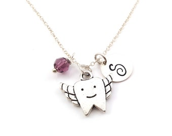 Tooth Fairy Necklace - Initial Necklace - Personalized Necklace - Sterling Silver Jewelry - Gift for Her