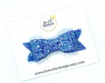 "Chunky Glitter Hair Bow 3"" - Pastel Purple"
