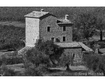Fine Art Black & White Photography of Old Stone Mill in Tuscany