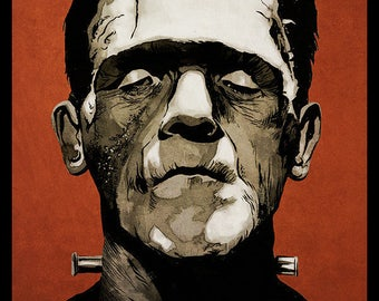 Frankenstein movie poster full colour art print