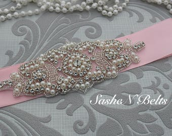 Wedding belt, beaded  belt, pink bridal belt, ivory bridal  belt, pink flower girl sash, belt sash, bridesmaid belt, dress belt