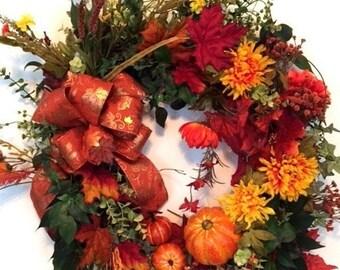 Fall Wreath, Autumn Wreath, Fall Pumpkin Wreath, Autumn Pumpkin Wreath, Fall Colors Wreath, Fall Mum Wreath, Fall Decor, Thanksgiving