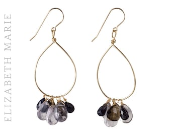 Amethyst and Smokey Quartz Hand-Shaped Hoop Earrings on 14K Gold Filled French Earwire