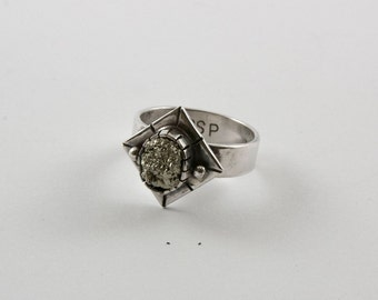 Pyrite silver ring