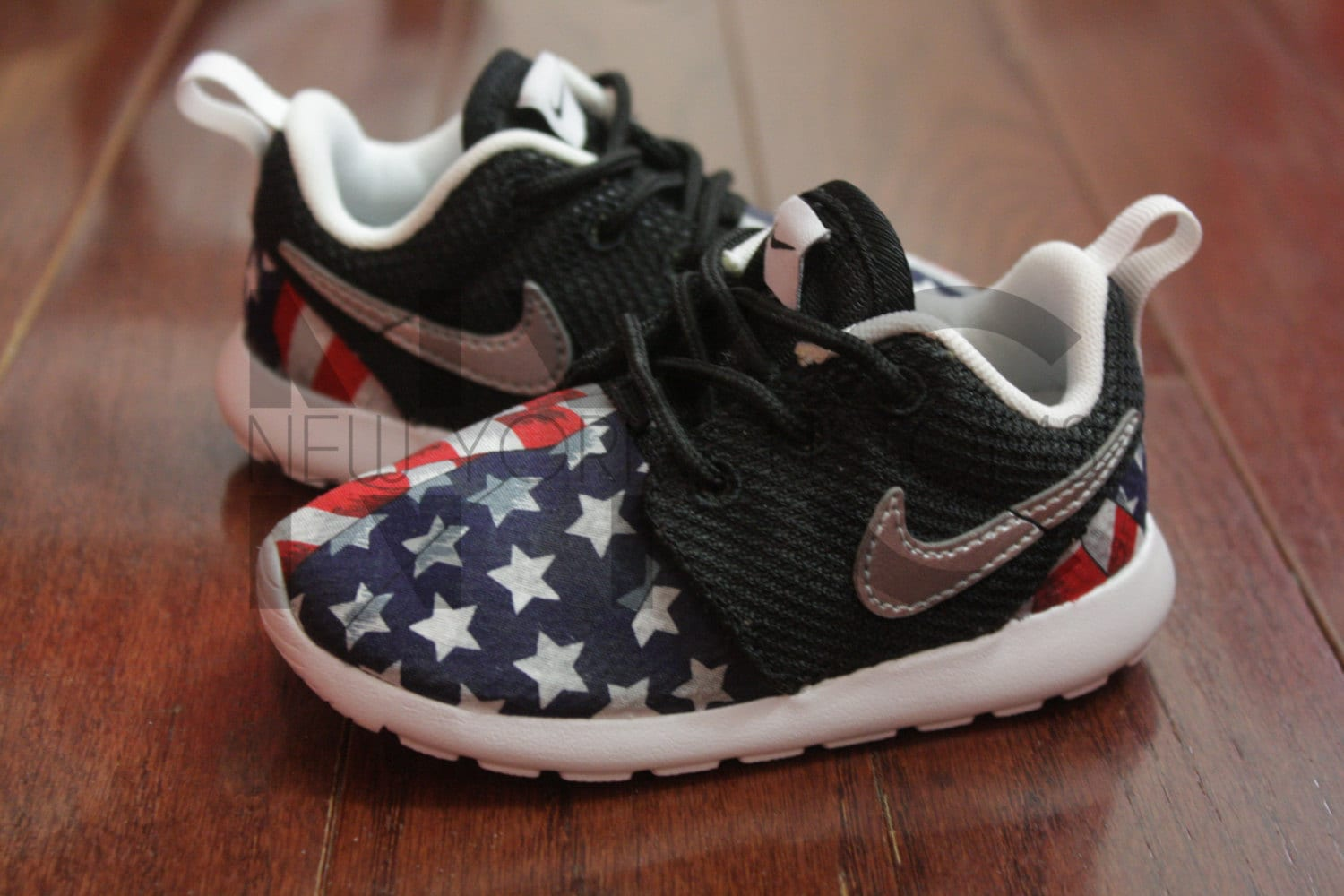 the latest 1c9f7 fa70c ... sweden nike roshe run black white american flag pride custom kids youth  grade school youth nike